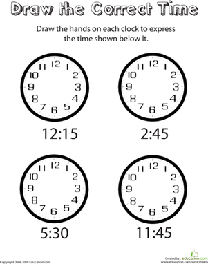 First Grade Math Worksheets: Draw the Hands of the Clock II