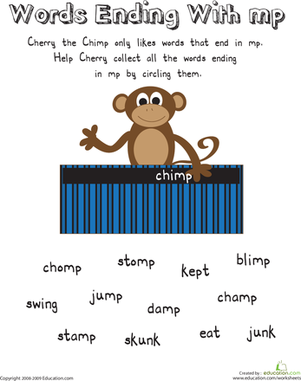 First Grade Reading & Writing Worksheets: Cherry the Chimp: Words Ending with -Mp