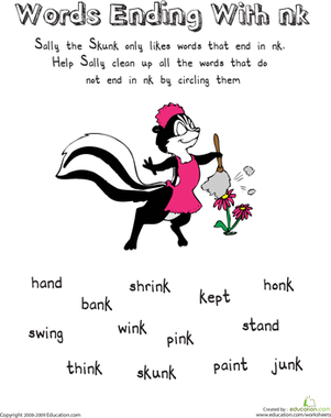 First Grade Reading & Writing Worksheets: Sally the Skunk: Words Ending with -Nk