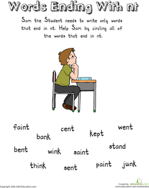First Grade Reading & Writing Worksheets: Sam the Student: Words Ending with -Nt