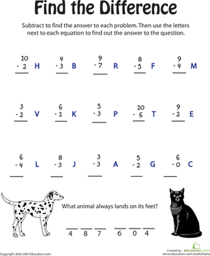 First Grade Math Worksheets: Find the Difference II