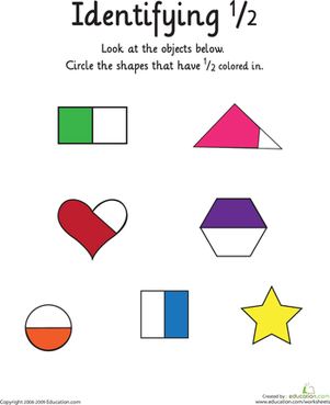 First Grade Math Worksheets: Identifying the Fraction 1/2