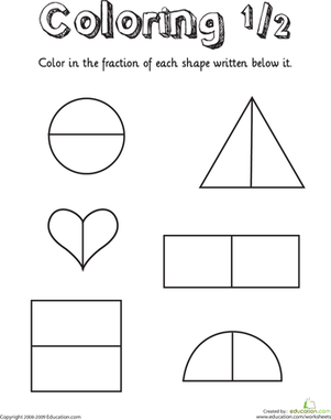 First Grade Math Worksheets: Coloring Shapes: The Fraction 1/2