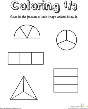 First Grade Math Worksheets: Coloring Shapes: The Fraction 1/3