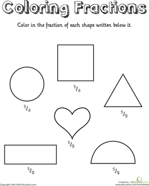 coloring shapes fractions  worksheet  educationcom first grade math worksheets coloring shapes fractions