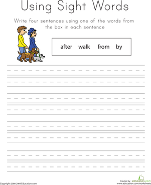 words.png sentences very word word sight sight sight worksheet for