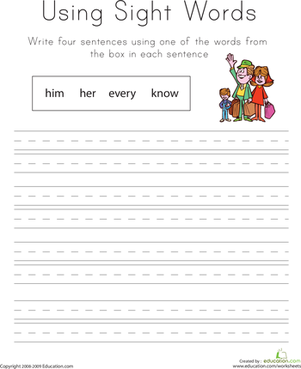 First Grade Reading & Writing Worksheets: Using Sight Words: Him, Her, Every, Know