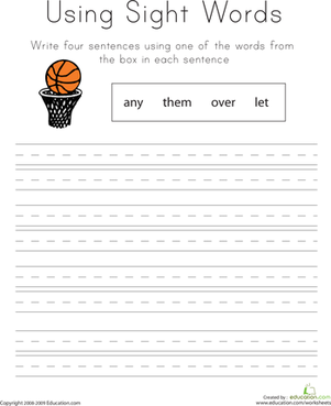 First Grade Reading & Writing Worksheets: Using Sight Words: Any, Them, Over, Let