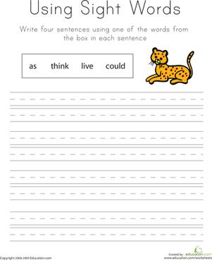 First Grade Reading & Writing Worksheets: Using Sight Words: As, Think, Live, Could