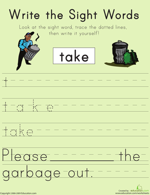 "First Grade Reading & Writing Worksheets: Write the Sight Words: ""Take"""