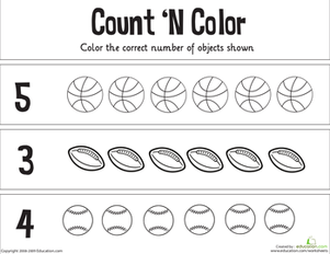 Kindergarten Math Worksheets: Count 'n Color: The Numbers 1-5