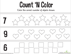Kindergarten Math Worksheets: Count 'n Color: The Numbers 5-10