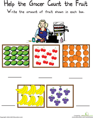 First Grade Math Worksheets: Counting Fruit: The Numbers 15 through 20