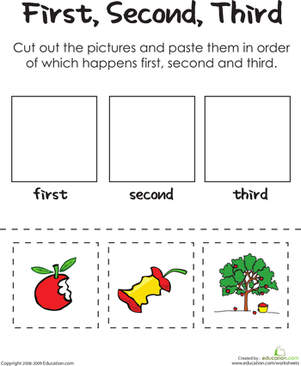 math worksheet : first second third an apple a day  worksheet  education  : Sequencing For Kindergarten Worksheets