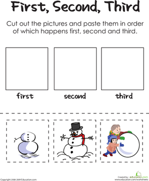 First Grade Holidays & Seasons Worksheets: First, Second, Third: Building A Frosty Snowman
