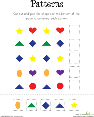 Kindergarten Math Worksheets: Pattern Practice!
