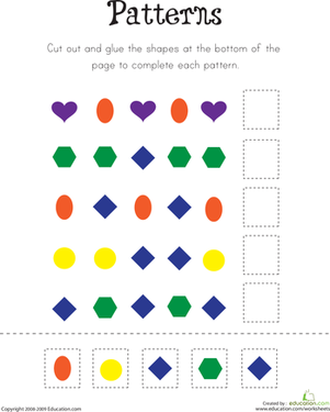 Kindergarten Math Worksheets: Pattern Practice II