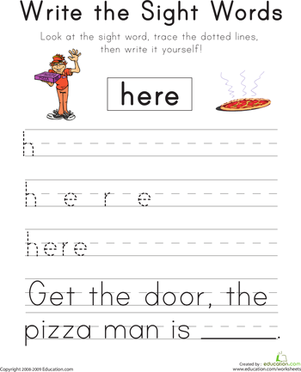 "Write the Sight Words: ""Here"" 