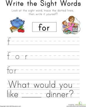 "Kindergarten Reading & Writing Worksheets: Write the Sight Words: ""For"""