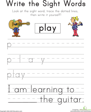 "Kindergarten Reading & Writing Worksheets: Write the Sight Words: ""Play"""