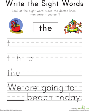 "Kindergarten Reading & Writing Worksheets: Write the Sight Words: ""The"""