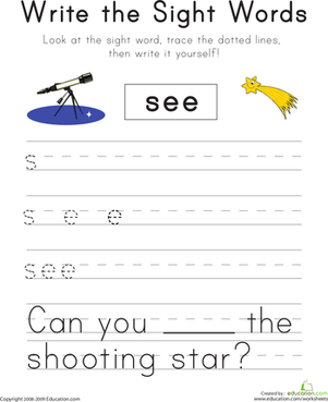 "Kindergarten Reading & Writing Worksheets: Write the Sight Words: ""See"""