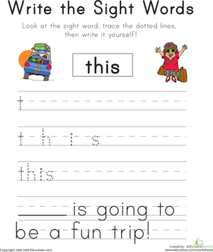 "Kindergarten Reading & Writing Worksheets: Write the Sight Words: ""This"""
