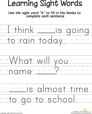 "First Grade Reading & Writing Worksheets: Learning Sight Words: ""It"""