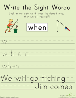 "First Grade Reading & Writing Worksheets: Write the Sight Words: ""When"""
