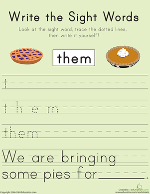 "First Grade Reading & Writing Worksheets: Write the Sight Words: ""Them"""
