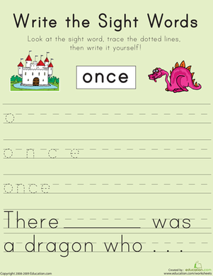 "Write the Sight Words: ""Once"""