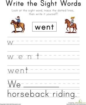 "Write the Sight Words: ""Went"""