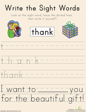 "First Grade Reading & Writing Worksheets: Write the Sight Words: ""Thank"""