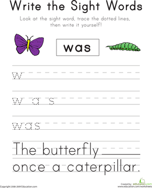 "Kindergarten Reading & Writing Worksheets: Write the Sight Words: ""Was"""