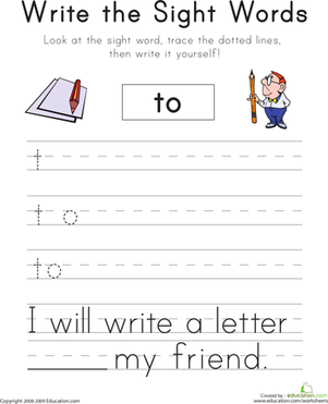 "Kindergarten Reading & Writing Worksheets: Write the Sight Words: ""To"""