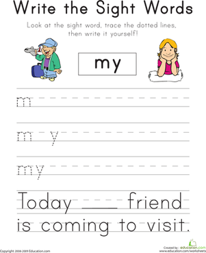 "Number Names Worksheets printable kindergarten sight words : Write the Sight Words: ""My"" 