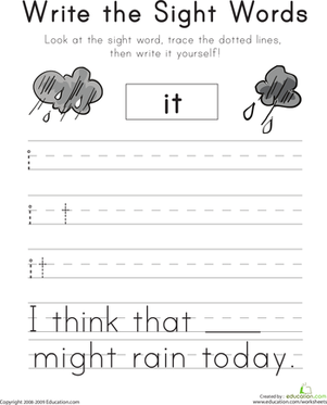 "Kindergarten Reading & Writing Worksheets: Write the Sight Words: ""It"""