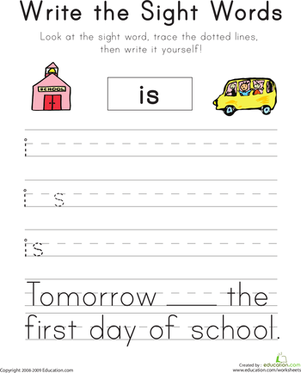 "Kindergarten Reading & Writing Worksheets: Write the Sight Words: ""Is"""