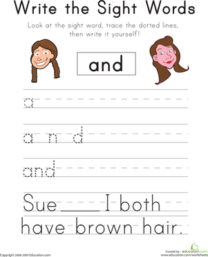 "Kindergarten Reading & Writing Worksheets: Write the Sight Words: ""And"""