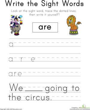 "Kindergarten Reading & Writing Worksheets: Write the Sight Words: ""Are"""