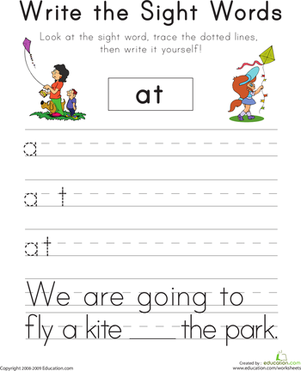 "Kindergarten Reading & Writing Worksheets: Write the Sight Words: ""At"""