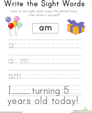 "Kindergarten Reading & Writing Worksheets: Write the Sight Words: ""Am"""