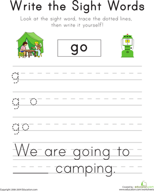 "Kindergarten Reading & Writing Worksheets: Write the Sight Words: ""Go"""