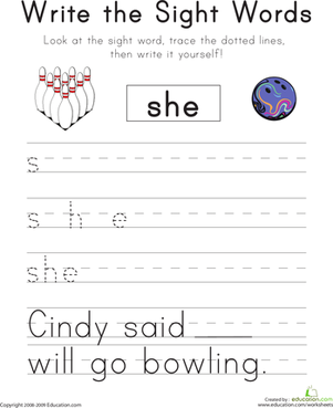 "Kindergarten Reading & Writing Worksheets: Write the Sight Words: ""She"""