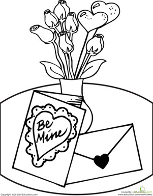 Kindergarten Holidays & Seasons Worksheets: Valentine Coloring Page