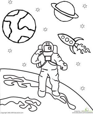 Kindergarten Coloring Worksheets: Color the Outer Space Astronaut