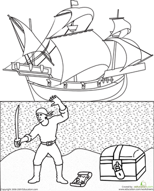First Grade Coloring Worksheets: Color the Pirate Ship
