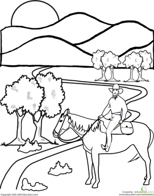 First Grade Coloring Worksheets: Color the Cowboy