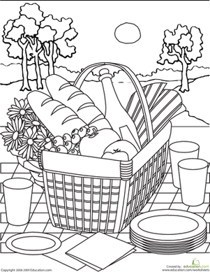 Second Grade Coloring Worksheets: Color the Picnic Basket