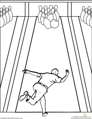 Color the Bowling Alley | Coloring Page | Education.com